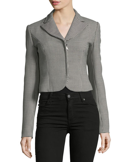Fabiana Zip-Front Cropped Houndstooth Wool jacket