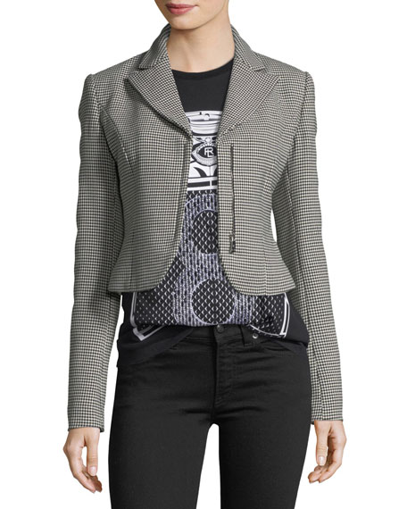 Ralph Lauren Collection Fabiana Zip-Front Cropped Houndstooth