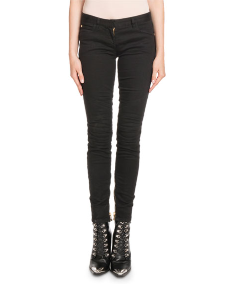 Balmain Skinny-Leg Stretch-Denim Jeans with Golden Trim and