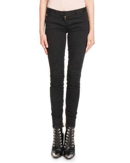 Balmain Skinny-Leg Stretch-Denim Jeans with Golden Trim