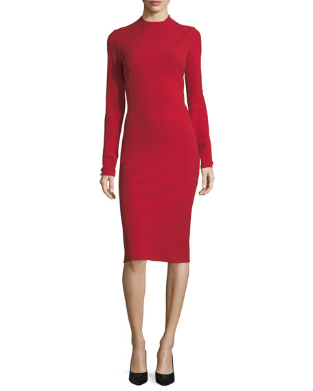 Ralph Lauren Collection Matilda High-Neck Wool Crepe Dress