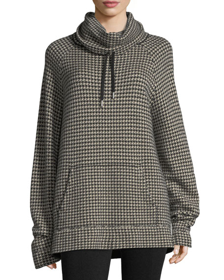 Houndstooth Funnel-Neck Cashmere Pullover