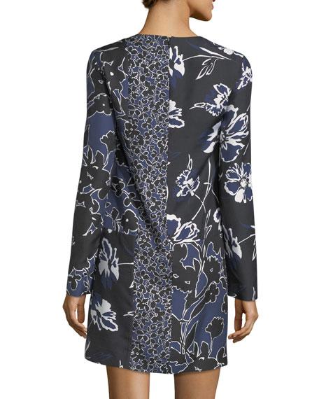 Patchwork Long-Sleeve Shift Dress