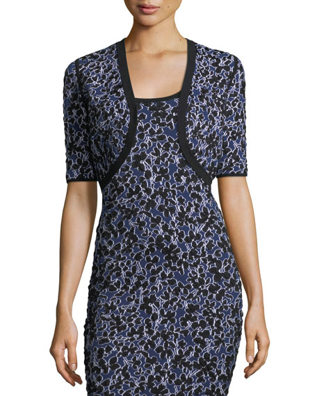 Michael Kors Collection Floral-Jacquard Half-Sleeve Cropped Shrug