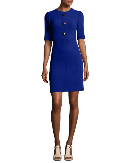 Michael Kors Collection Crewneck Half-Sleeve Shift Dress