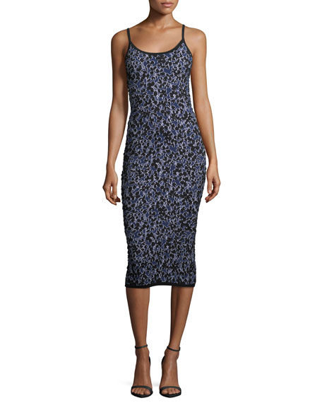 Michael Kors Collection Floral-Jacquard Fitted Midi Tank Dress