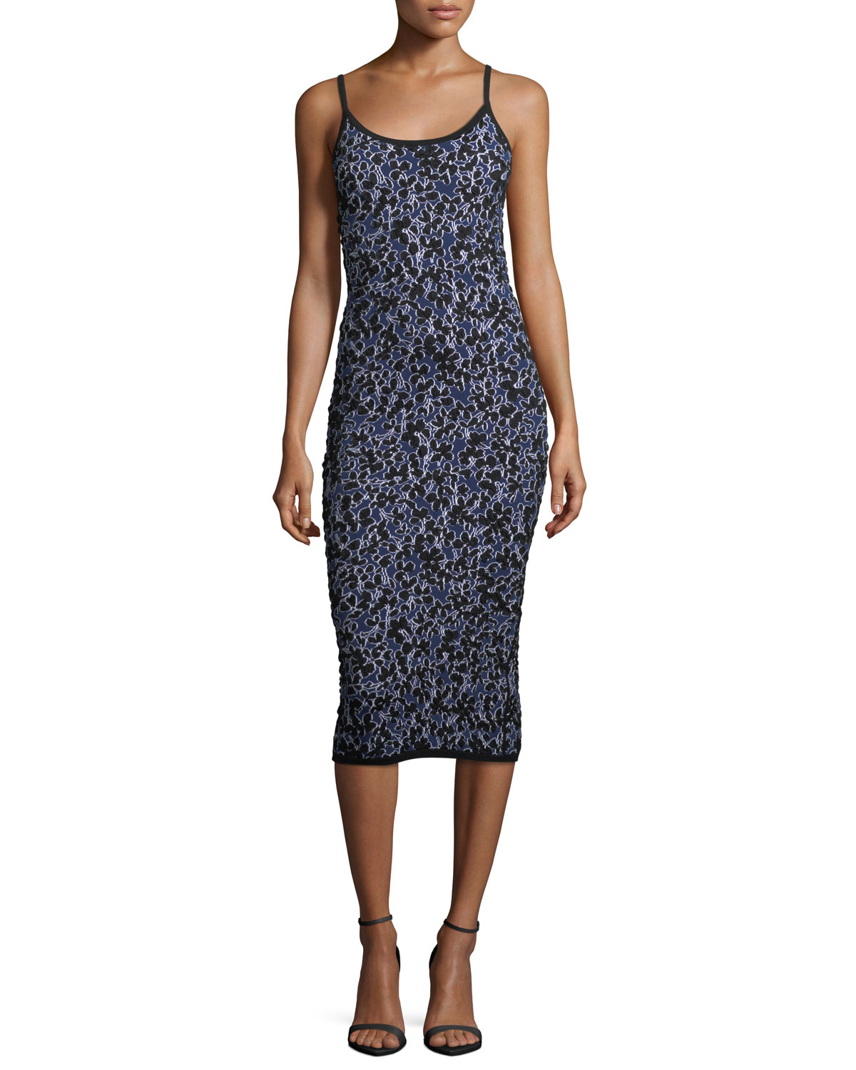 Michael Kors Collection Floral-Jacquard Fitted Midi Tank ...