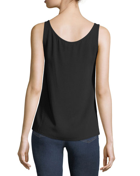 Scoop-Neck Silk Georgette Tank