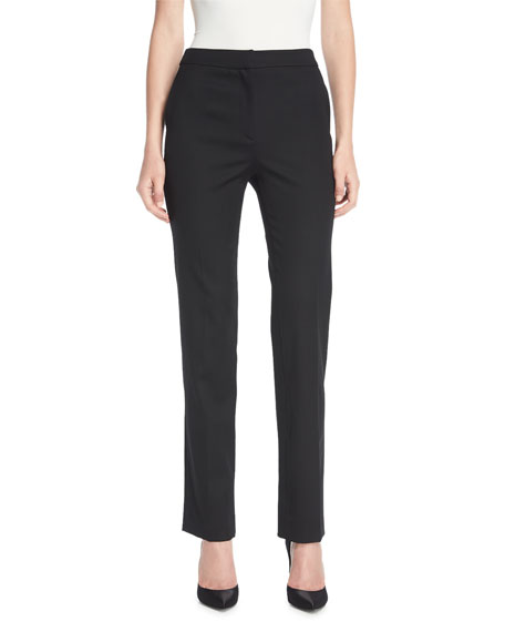 Oscar de la Renta Straight-Leg Stretch-Wool Pants and