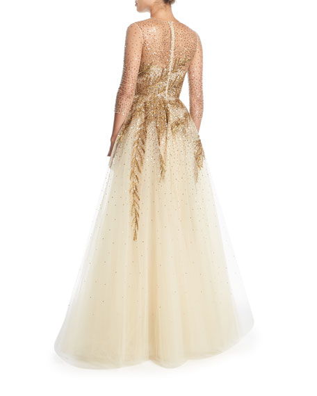 High-Neck Illusion Tulle Evening Gown w/ Sequin Detail