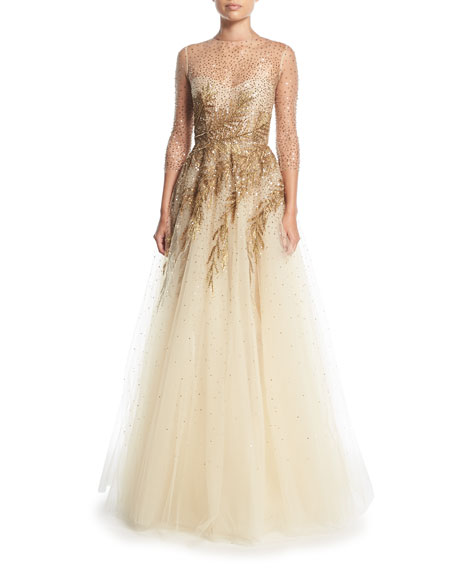 Oscar de la Renta High-Neck Illusion Tulle Evening