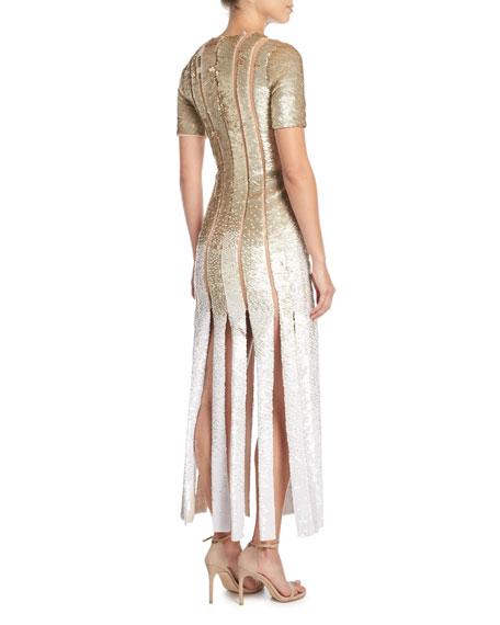 Short-Sleeve Sequin Evening Gown w/ Carwash Hem