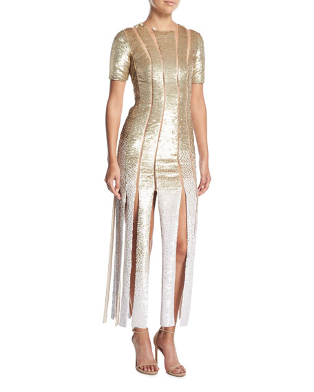 Short-Sleeve Sequin Evening Gown w/ Carwash Hem