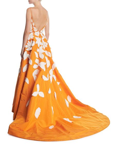 Deep-V Spaghetti-Strap Evening Gown w/ Contrast Leaf Appliques