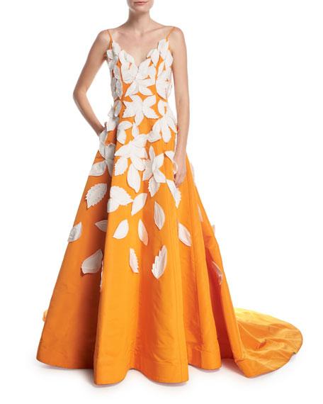 Oscar de la Renta Deep-V Spaghetti-Strap Evening Gown