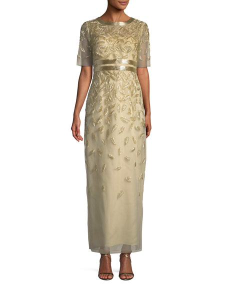 Beaded Sequin Embroidered Short-Sleeve Column Evening Gown
