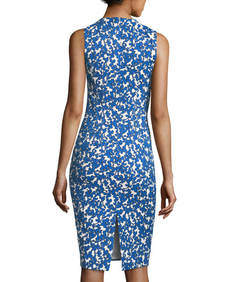 Field Floral-Print Stretch-Matelasse Sheath Dress
