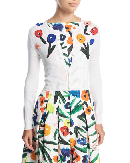 Button-Front Silk Cardigan w/ Floral Appliques