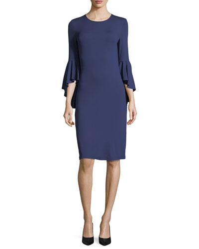Cascade-Sleeve Stretch Matte Jersey Sheath Dress