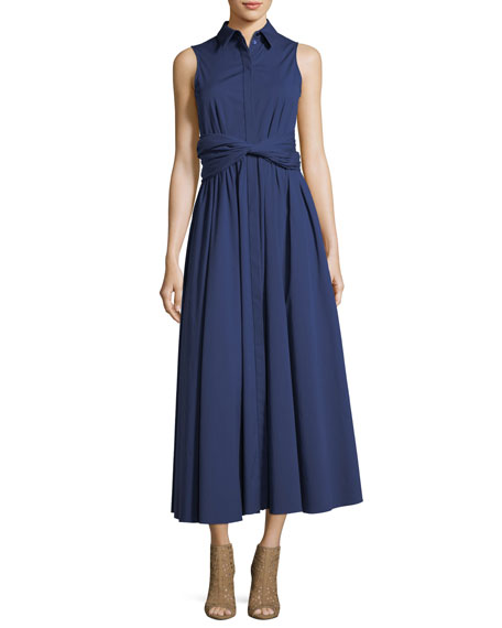 Sash-Waist Button-Front A-Line Stretch-Poplin Long Dress