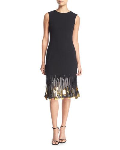 Sleeveless High-Neck Wool Sheath Dress w/ Paillette Hem