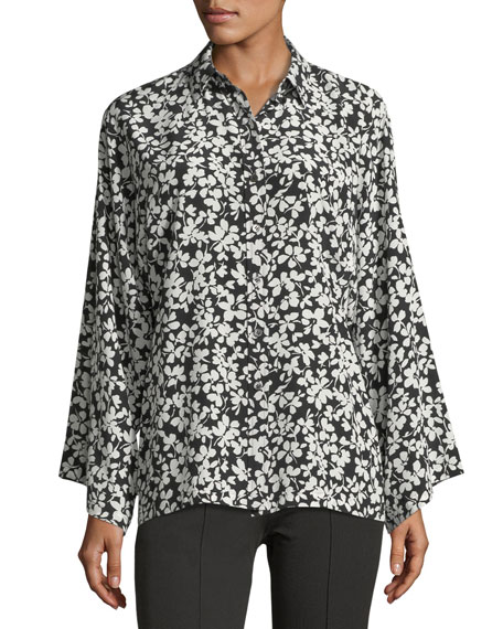 Michael Kors Collection Floral-Print Crepe de Chine Dolman