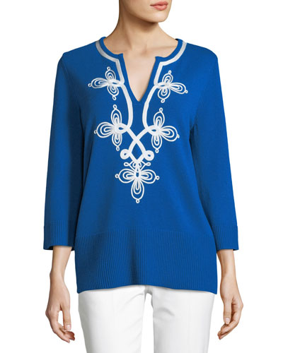 Soutache Split-Neck Long-Sleeve Cashmere Pullover Tunic