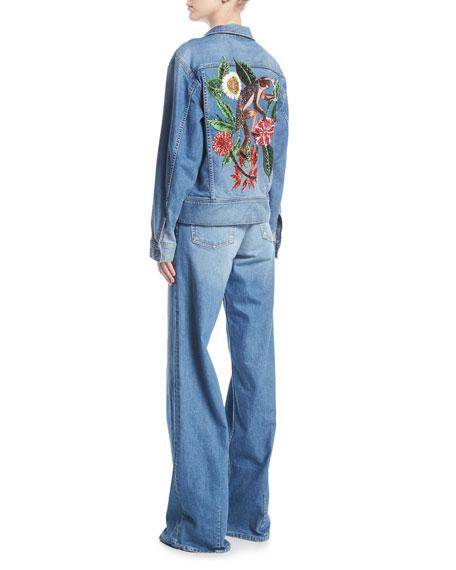 Monkey-Embroidered Button-Front Denim Jacket