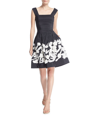 Square-Neck Pleated Silk Faille Cocktail Dress w/ Embroidery