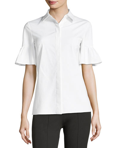 Michael Kors Collection Short Bell-Sleeve Button-Front Stretch Poplin Shirt