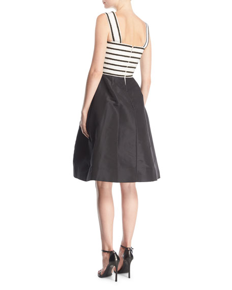 "Beaded Striped Top with ""Monkey"" Embroidered Skirt Cocktail Dress"