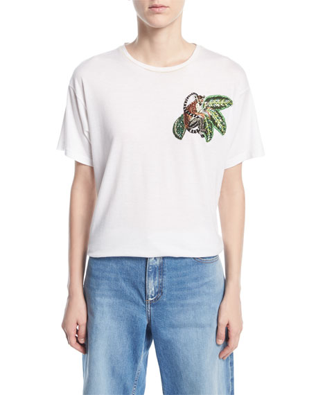 Oscar de la Renta T-Shirt with Beaded
