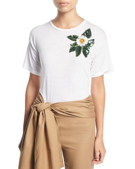 Oscar de la Renta Crewneck Short-Sleeve T-Shirt w/