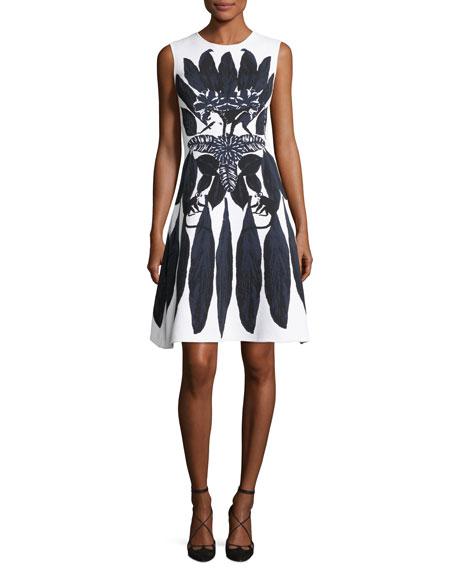 Oscar de la Renta Sleeveless Knit Dress with