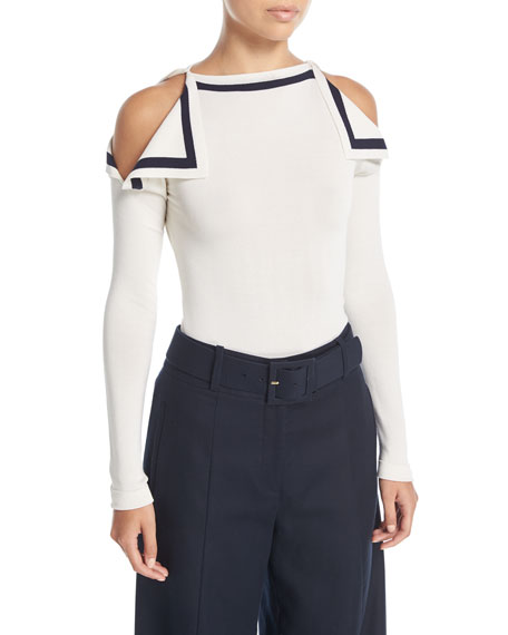 Oscar de la Renta High-Neck Cold-Shoulder Pullover Top