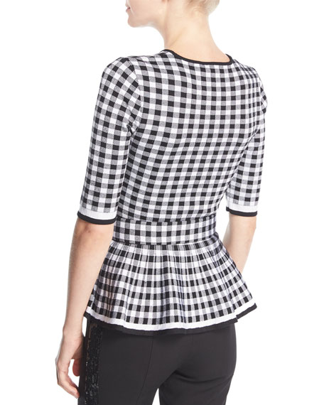 Crewneck Half-Sleeve Gingham Belted Peplum Top