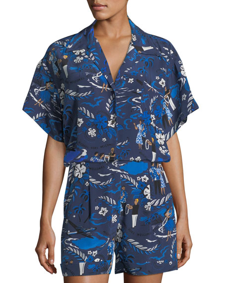 Short-Sleeve Welcome-Print Button-Front Camp Shirt