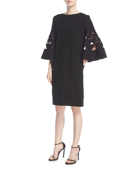 Bell-Sleeve Shift Wool-Blend Cocktail Dress