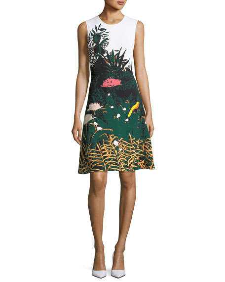 Oscar de la Renta Crewneck Sleeveless Meadow-Print Short