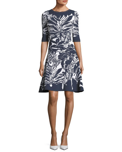 Half-Sleeve Fit-and-Flare Printed Short Dress