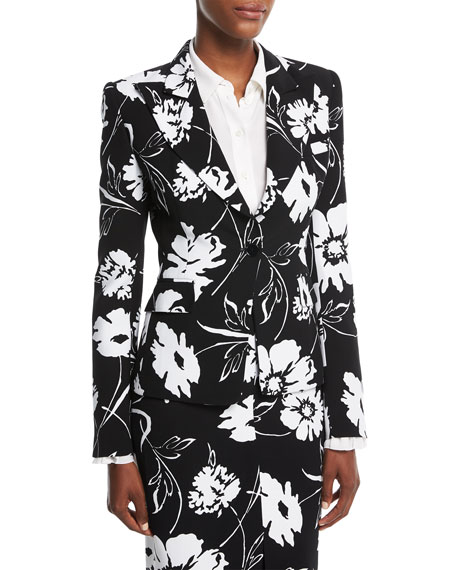 Michael Kors Collection Floral-Print Crepe Cady Tailored Jacket