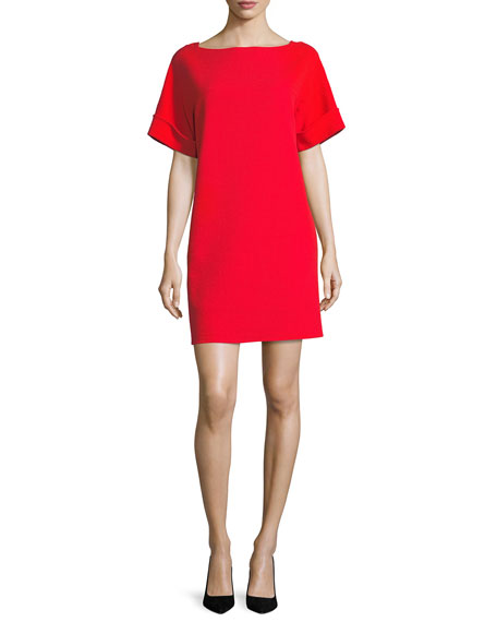 Oscar de la Renta Short-Sleeve Tie-Back Shift Dress