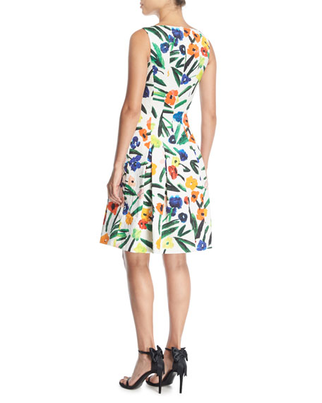 High-Neck Sleeveless Floral-Print Knee-Length Cocktail Dress