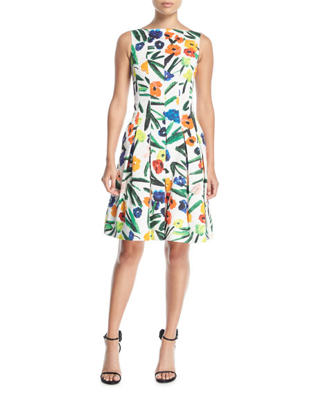Oscar de la Renta High-Neck Sleeveless Floral-Print Knee-Length