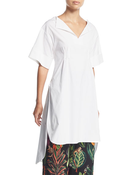 Oscar de la Renta Half-Sleeve Split-Neck Gathered-Back Poplin