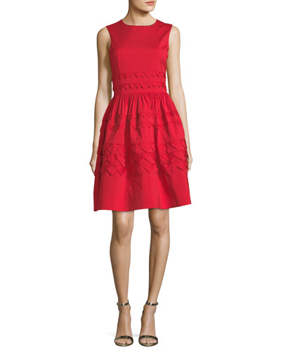 Sleeveless Embroidered Fit-and-Flare Day Dress