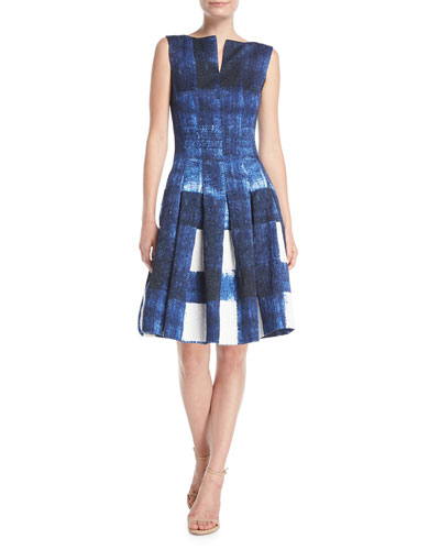 Sleeveless Bateau-Neck Brushstroke Fit-and-Flare Cocktail Dress
