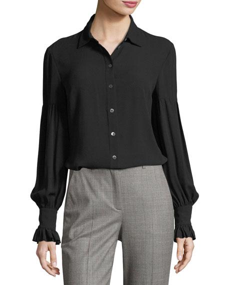 Michael Kors Collection Gathered-Sleeve Silk Shirt