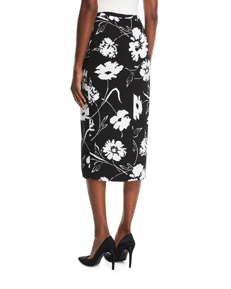 Floral-Print Crepe Cady Pencil Skirt