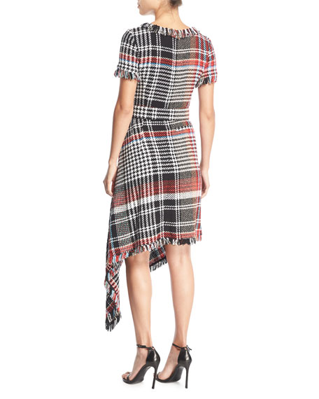 Round-Neck Asymmetric Plaid Tweed Dress